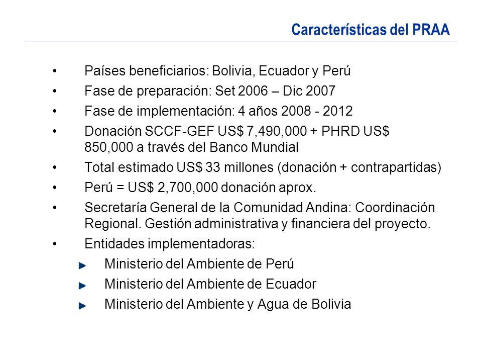 Países beneficiarios: Bolivia, Ecuador y Perú Fase de preparación: Set 2006 – Dic 2007 Fase de implementación: 4 años 2008 - 2012 Donación SCCF-GEF US
