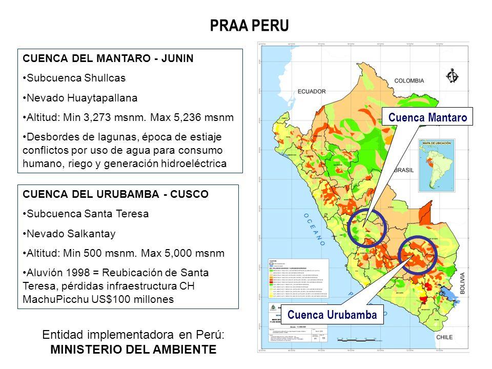 PRAA PERU CUENCA DEL MANTARO - JUNIN Subcuenca Shullcas Nevado Huaytapallana Altitud: Min 3,273 msnm. Max 5,236 msnm Desbordes de lagunas, época de es
