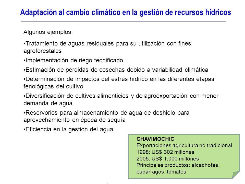 Adaptación al cambio climático en la gestión de recursos hídricos CHAVIMOCHIC Exportaciones agricultura no tradicional 1998: US$ 302 millones 2005: US