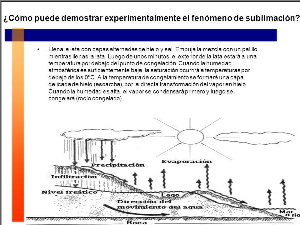 ¿Cómo puede demostrar experimentalmente el fenómeno de sublimación? Llena la lata con capas alternadas de hielo y sal. Empuja la mezcla con un palillo
