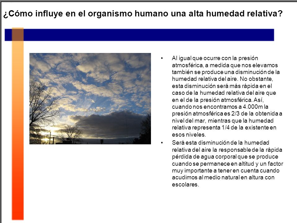 ¿Cómo influye en el organismo humano una alta humedad relativa? Al igual que ocurre con la presión atmosférica, a medida que nos elevamos también se p