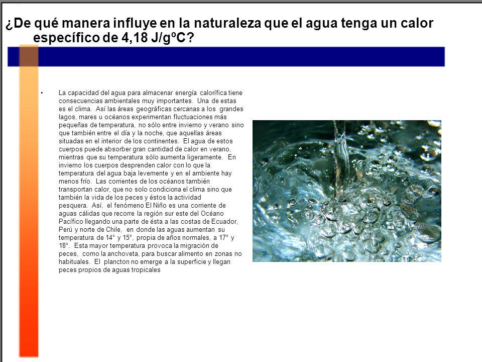 ¿De qué manera influye en la naturaleza que el agua tenga un calor específico de 4,18 J/gºC.