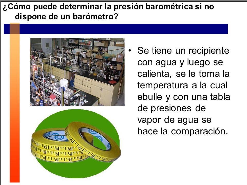 ¿Cómo puede determinar la presión barométrica si no dispone de un barómetro? Se tiene un recipiente con agua y luego se calienta, se le toma la temper