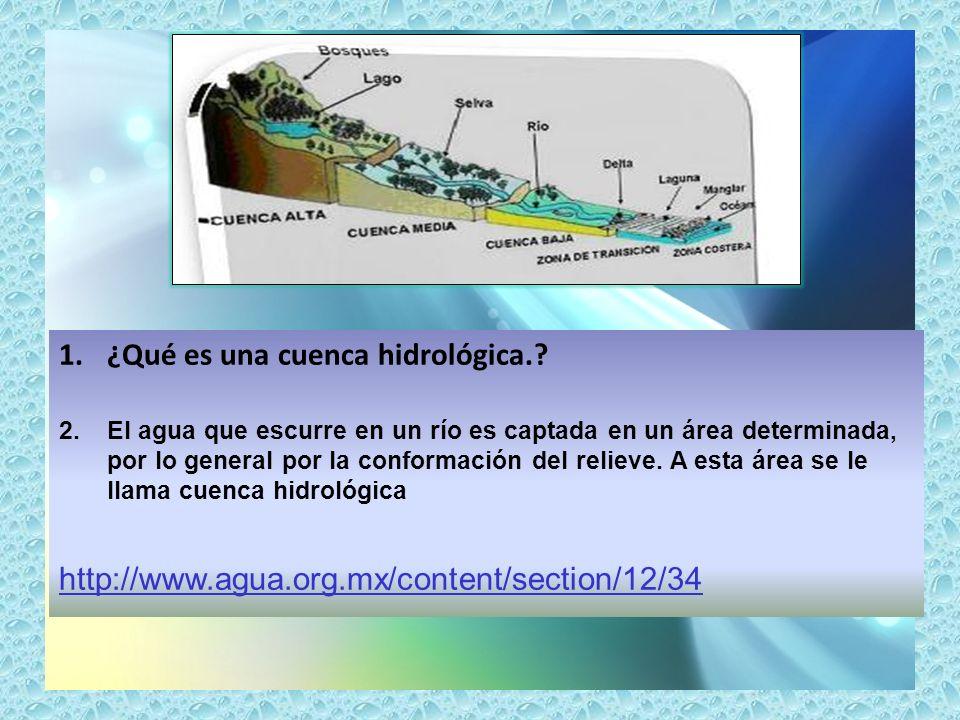 1.¿Qué es una cuenca hidrológica.? 2.El agua que escurre en un río es captada en un área determinada, por lo general por la conformación del relieve.