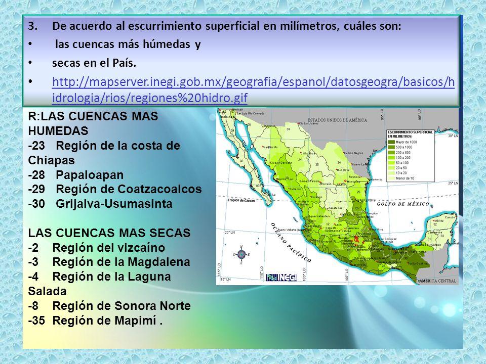 3.De acuerdo al escurrimiento superficial en milímetros, cuáles son: las cuencas más húmedas y secas en el País. http://mapserver.inegi.gob.mx/geograf
