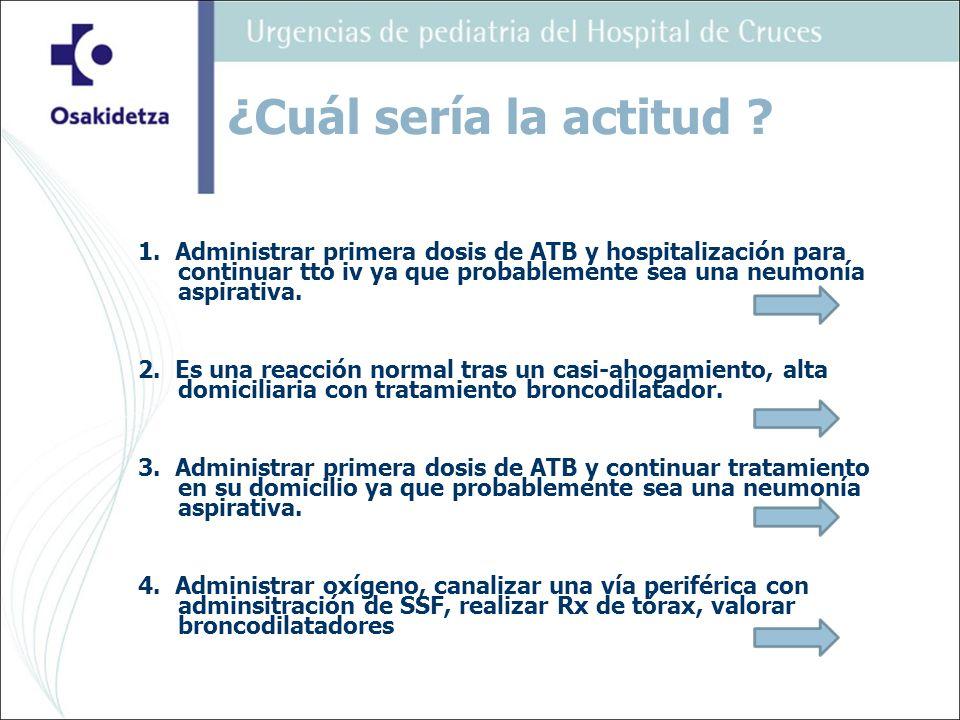 1. Administrar primera dosis de ATB y hospitalización para continuar tto iv ya que probablemente sea una neumonía aspirativa. 2. Es una reacción norma