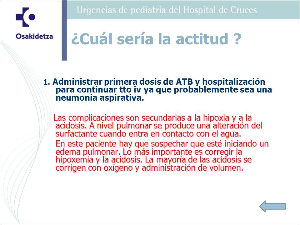 1. Administrar primera dosis de ATB y hospitalización para continuar tto iv ya que probablemente sea una neumonía aspirativa. Las complicaciones son s