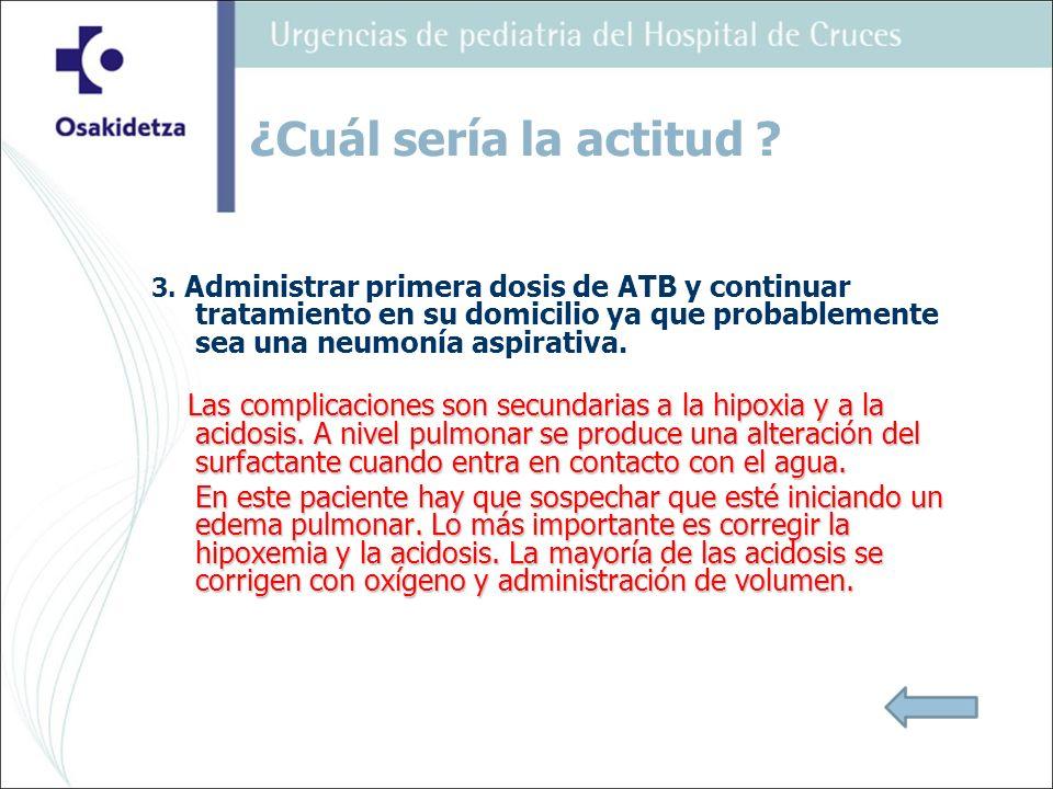 3. Administrar primera dosis de ATB y continuar tratamiento en su domicilio ya que probablemente sea una neumonía aspirativa. Las complicaciones son s