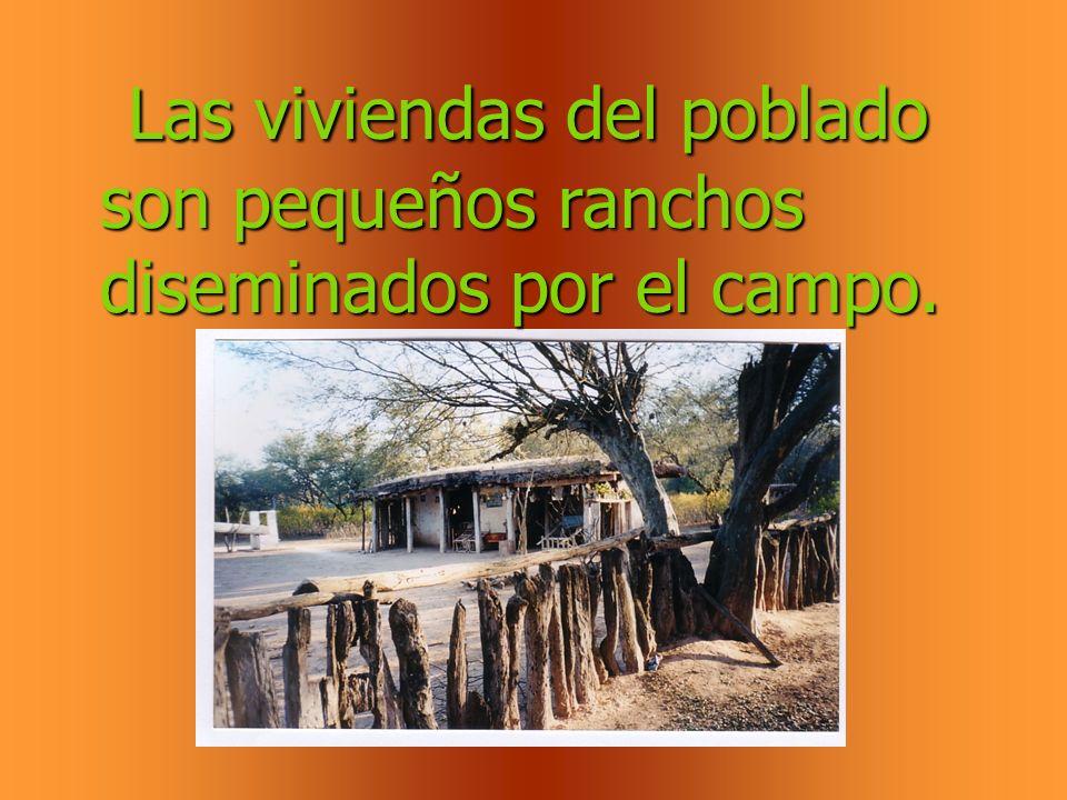 Las viviendas del poblado son pequeños ranchos diseminados por el campo.