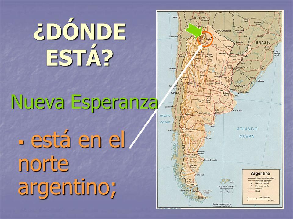 ¿DÓNDE ESTÁ? está en el norte argentino; está en el norte argentino; Nueva Esperanza