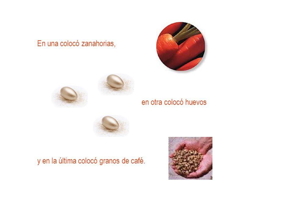 En una colocó zanahorias, en otra colocó huevos y en la última colocó granos de café.