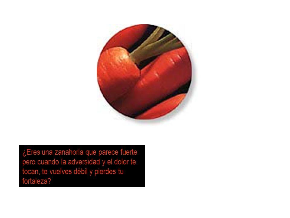 ¿Eres una zanahoria que parece fuerte pero cuando la adversidad y el dolor te tocan, te vuelves débil y pierdes tu fortaleza?