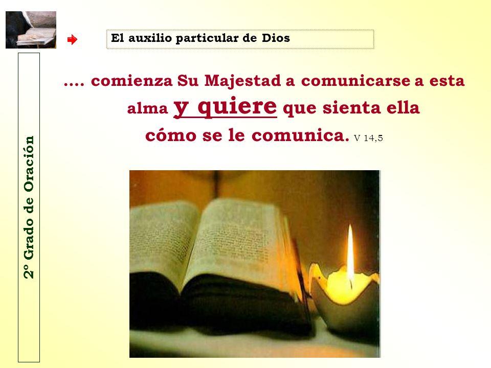 El auxilio particular de Dios …. comienza Su Majestad a comunicarse a esta alma y quiere que sienta ella cómo se le comunica. V 14,5