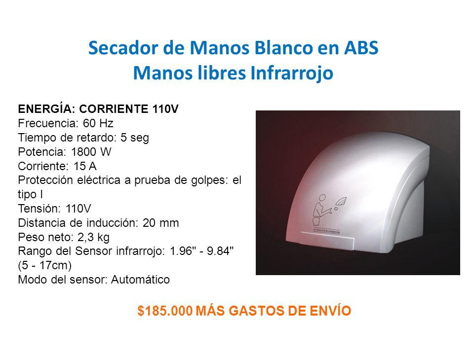 Secador de Manos Blanco en ABS Manos libres Infrarrojo $185.000 MÁS GASTOS DE ENVÍO ENERGÍA: CORRIENTE 110V Frecuencia: 60 Hz Tiempo de retardo: 5 seg