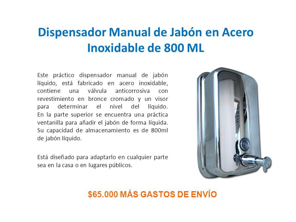 Este práctico dispensador manual de jabón líquido, está fabricado en acero inoxidable, contiene una válvula anticorrosiva con revestimiento en bronce
