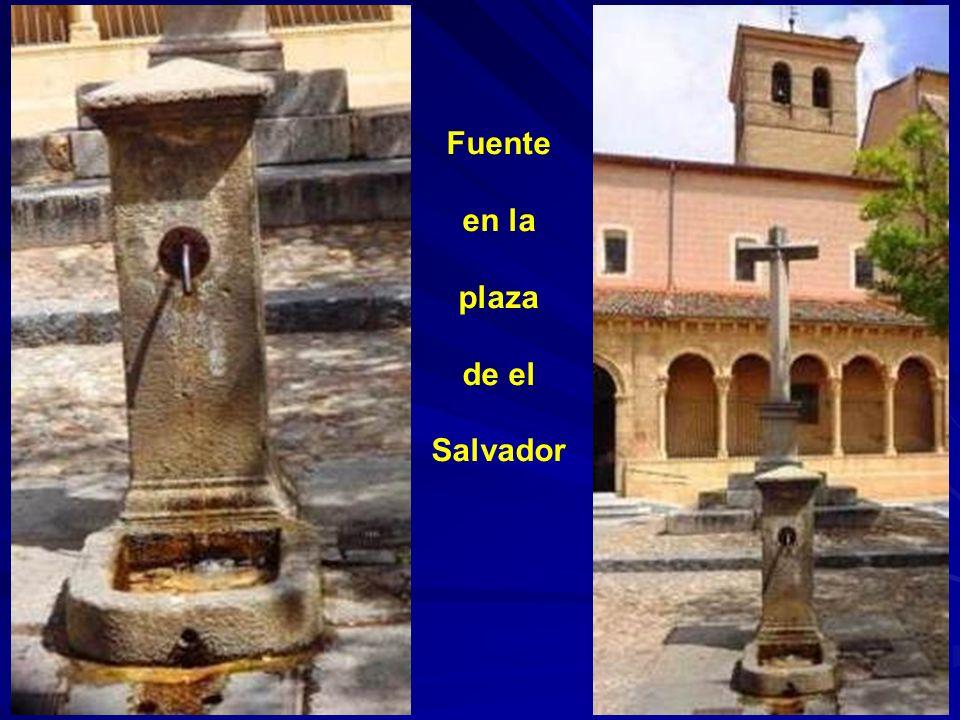 Pileta y caces en la plaza de Día Sanz adosados a la pared del Instituto Mariano Quintanilla