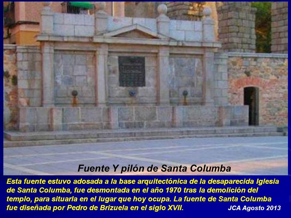 Fuente y pilón de la plaza de Medina del Campo, con sus dos leones y los dos niños que sujetan el pez que la remata, por cuyas bocas brota el agua.
