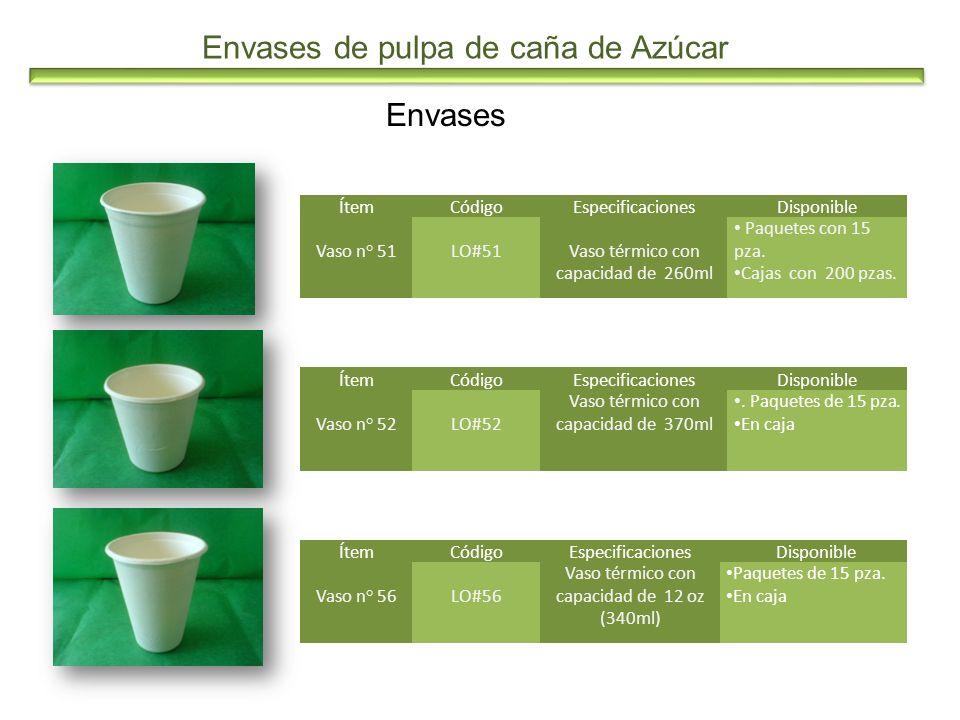 Envases de pulpa de caña de Azúcar Envases ÍtemCódigoEspecificacionesDisponible Vaso n° 51LO#51Vaso térmico con capacidad de 260ml Paquetes con 15 pza