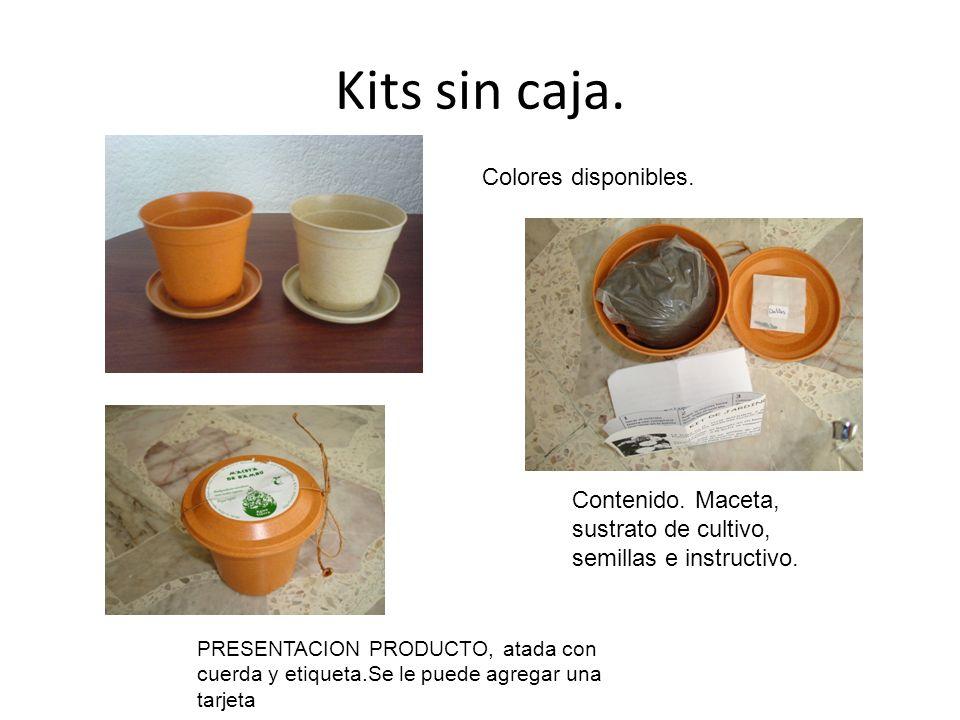Kits sin caja. Colores disponibles. Contenido. Maceta, sustrato de cultivo, semillas e instructivo. PRESENTACION PRODUCTO, atada con cuerda y etiqueta