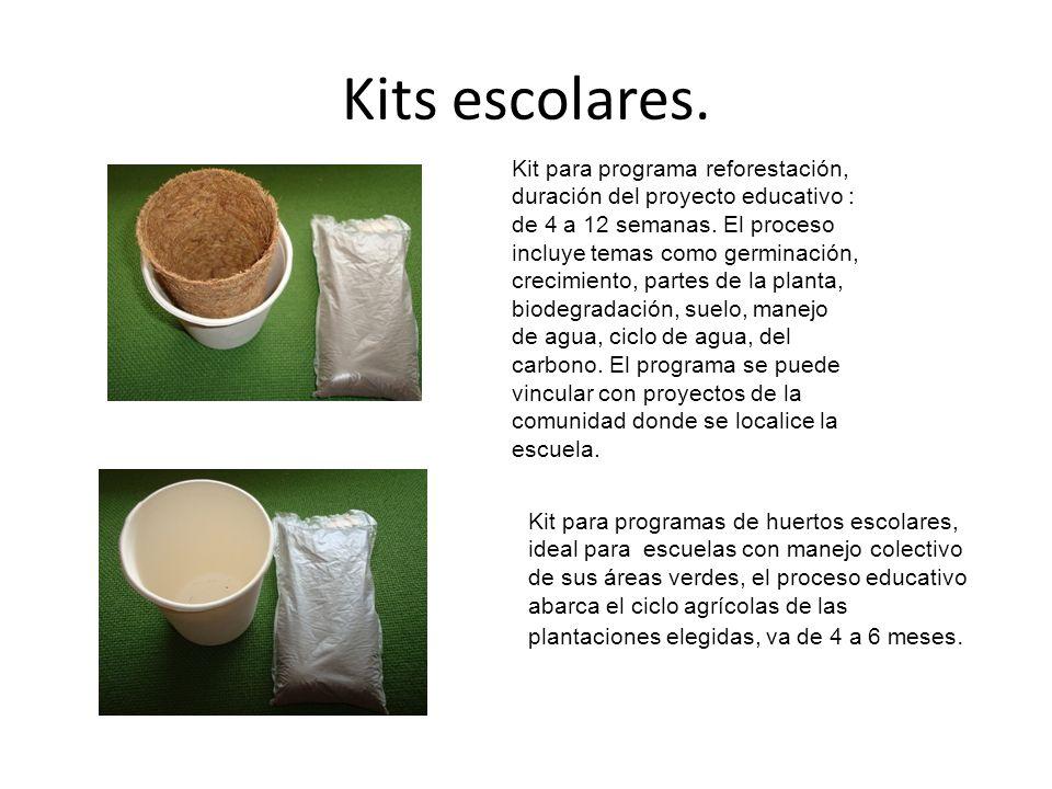 Kits escolares. Kit para programa reforestación, duración del proyecto educativo : de 4 a 12 semanas. El proceso incluye temas como germinación, creci