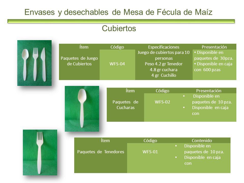 Envases y desechables de Mesa de Fécula de Maíz ÍtemCódigoEspecificacionesPresentación Paquetes de Juego de CubiertosWFS-04 Juego de cubiertos para 10