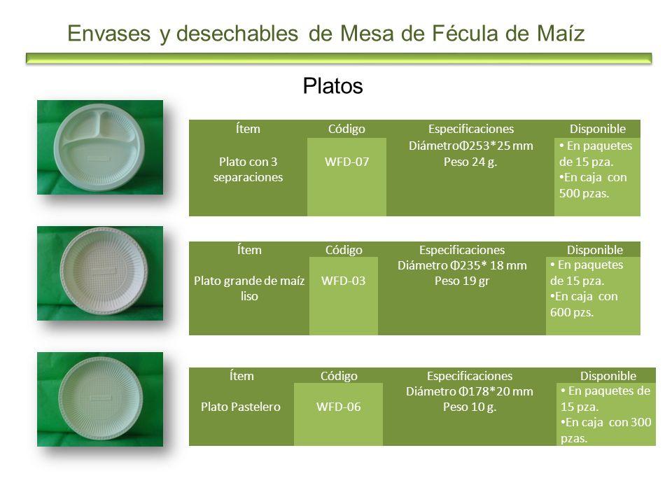 Platos Envases y desechables de Mesa de Fécula de Maíz ÍtemCódigoEspecificacionesDisponible Plato con 3 separaciones WFD-07 DiámetroΦ253*25 mm Peso 24