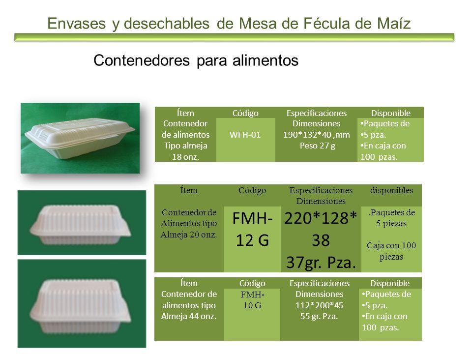 Envases y desechables de Mesa de Fécula de Maíz Contenedores para alimentos ÍtemCódigoEspecificacionesDisponible Contenedor de alimentos Tipo almeja 1