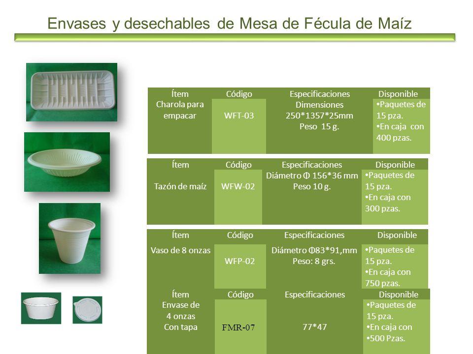Envases y desechables de Mesa de Fécula de Maíz ÍtemCódigoEspecificaciones Disponible Vaso de 8 onzas WFP-02 Diámetro Φ83*91,mm Peso: 8 grs. Paquetes