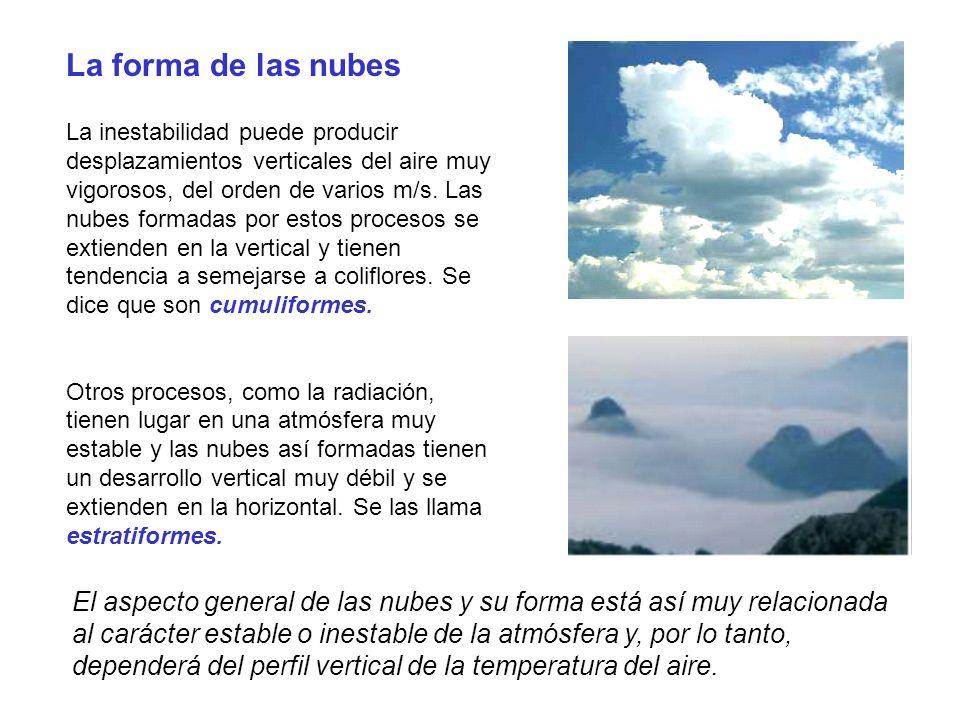 La forma de las nubes La inestabilidad puede producir desplazamientos verticales del aire muy vigorosos, del orden de varios m/s. Las nubes formadas p