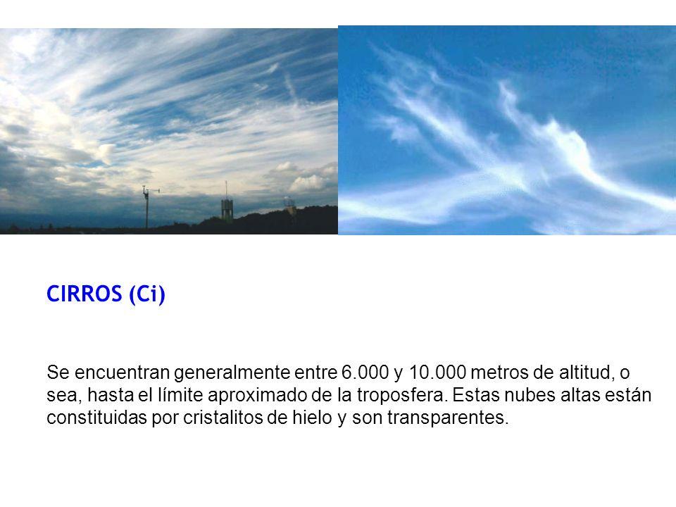 CIRROS (Ci) Se encuentran generalmente entre 6.000 y 10.000 metros de altitud, o sea, hasta el límite aproximado de la troposfera.
