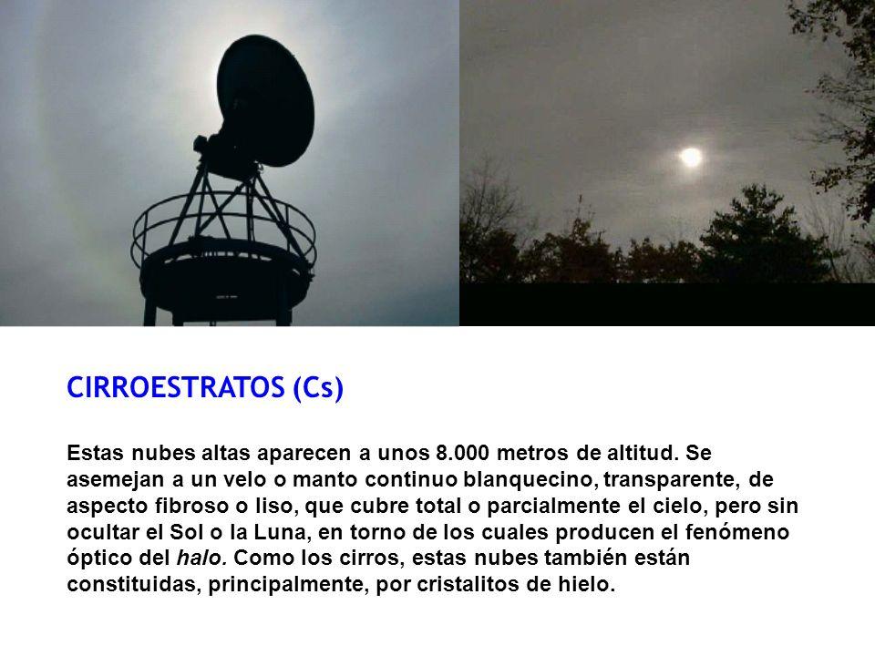 CIRROESTRATOS (Cs) Estas nubes altas aparecen a unos 8.000 metros de altitud. Se asemejan a un velo o manto continuo blanquecino, transparente, de asp