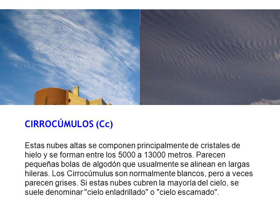 CIRROCÚMULOS (Cc) Estas nubes altas se componen principalmente de cristales de hielo y se forman entre los 5000 a 13000 metros. Parecen pequeñas bolas
