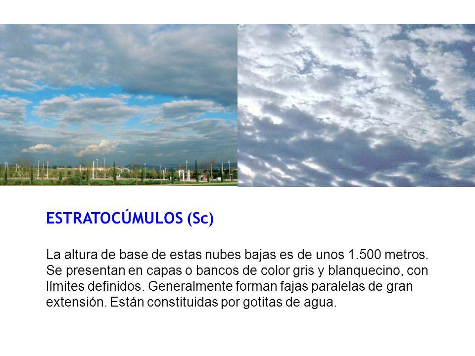 ESTRATOCÚMULOS (Sc) La altura de base de estas nubes bajas es de unos 1.500 metros. Se presentan en capas o bancos de color gris y blanquecino, con lí