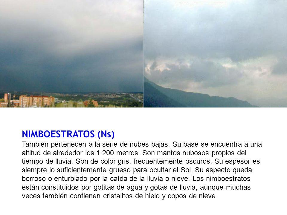 NIMBOESTRATOS (Ns) También pertenecen a la serie de nubes bajas. Su base se encuentra a una altitud de alrededor los 1.200 metros. Son mantos nubosos