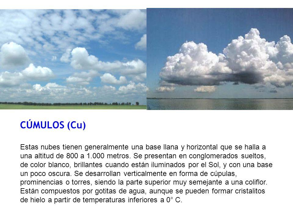 CÚMULOS (Cu) Estas nubes tienen generalmente una base llana y horizontal que se halla a una altitud de 800 a 1.000 metros. Se presentan en conglomerad