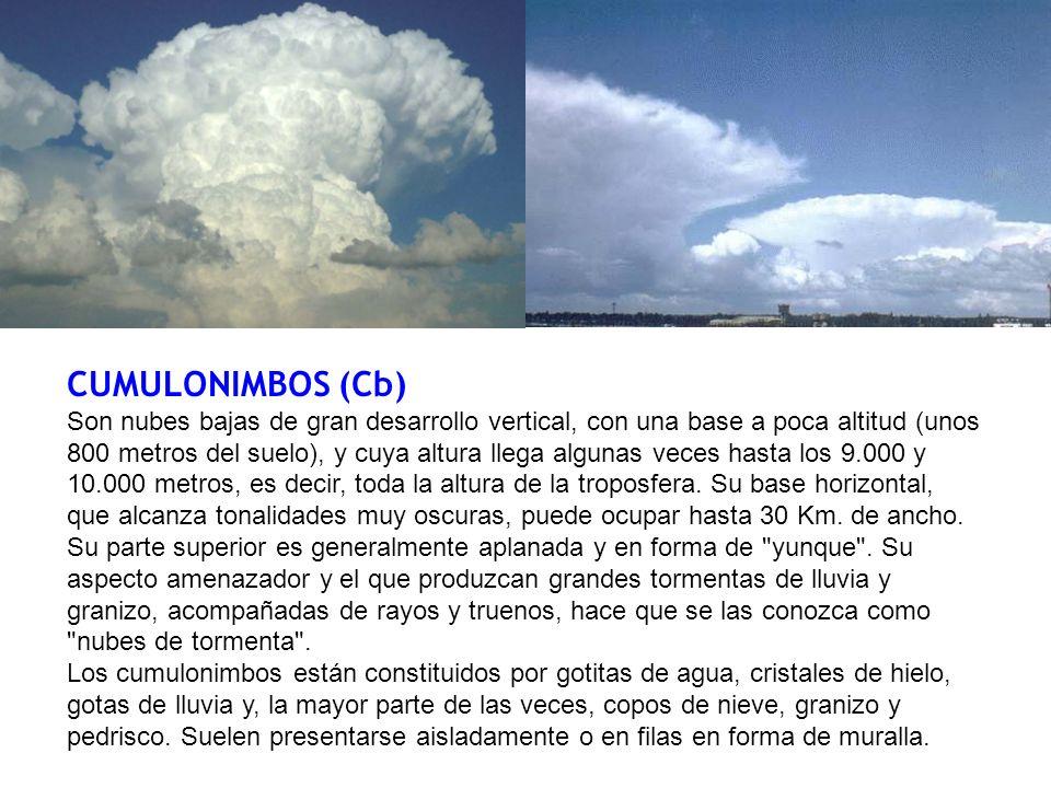 CUMULONIMBOS (Cb) Son nubes bajas de gran desarrollo vertical, con una base a poca altitud (unos 800 metros del suelo), y cuya altura llega algunas veces hasta los 9.000 y 10.000 metros, es decir, toda la altura de la troposfera.