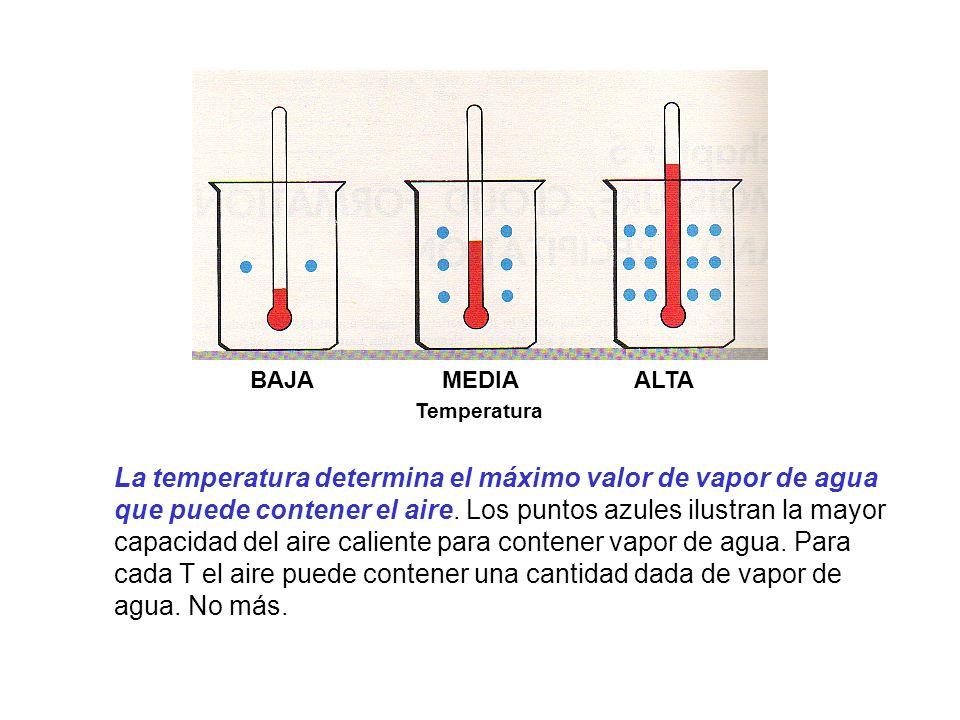 BAJA MEDIA ALTA Temperatura La temperatura determina el máximo valor de vapor de agua que puede contener el aire. Los puntos azules ilustran la mayor