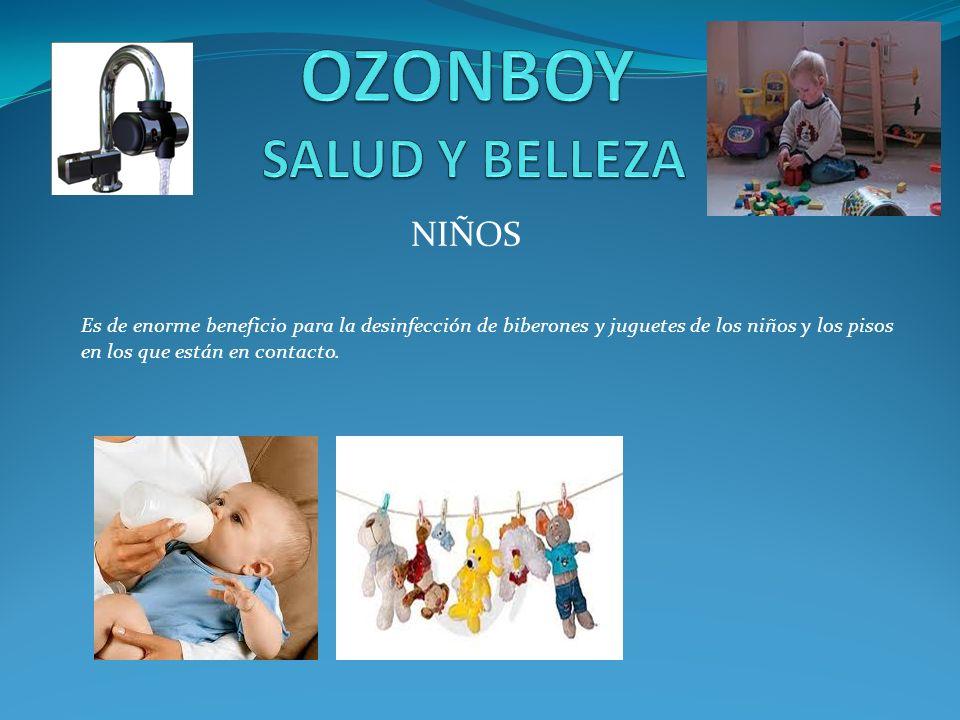 NIÑOS Es de enorme beneficio para la desinfección de biberones y juguetes de los niños y los pisos en los que están en contacto.