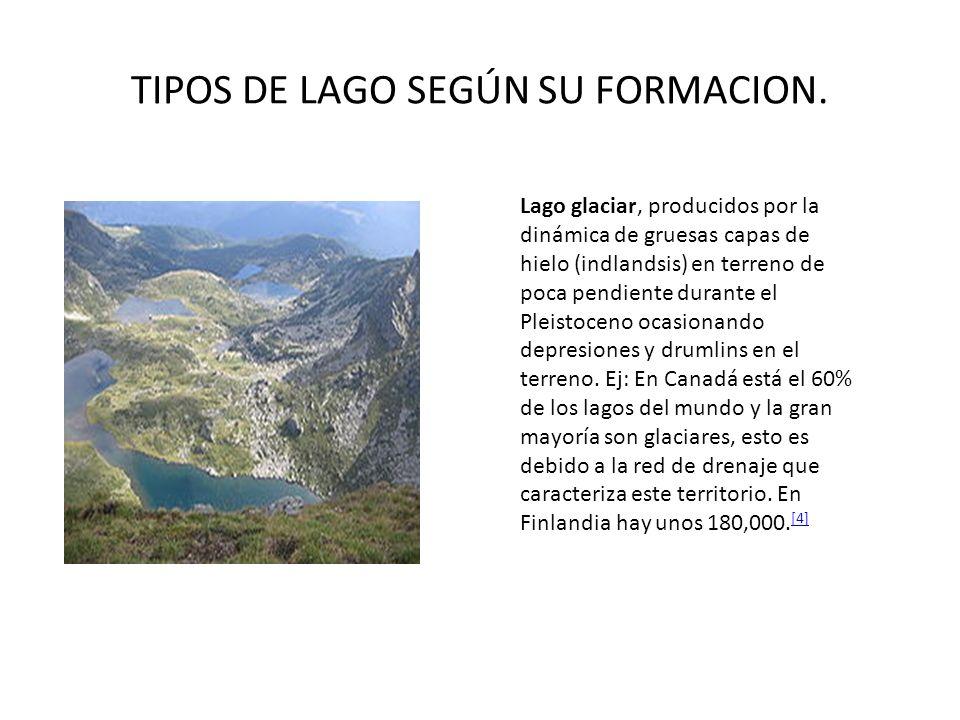 TIPOS DE LAGO SEGÚN SU FORMACION. Lago glaciar, producidos por la dinámica de gruesas capas de hielo (indlandsis) en terreno de poca pendiente durante