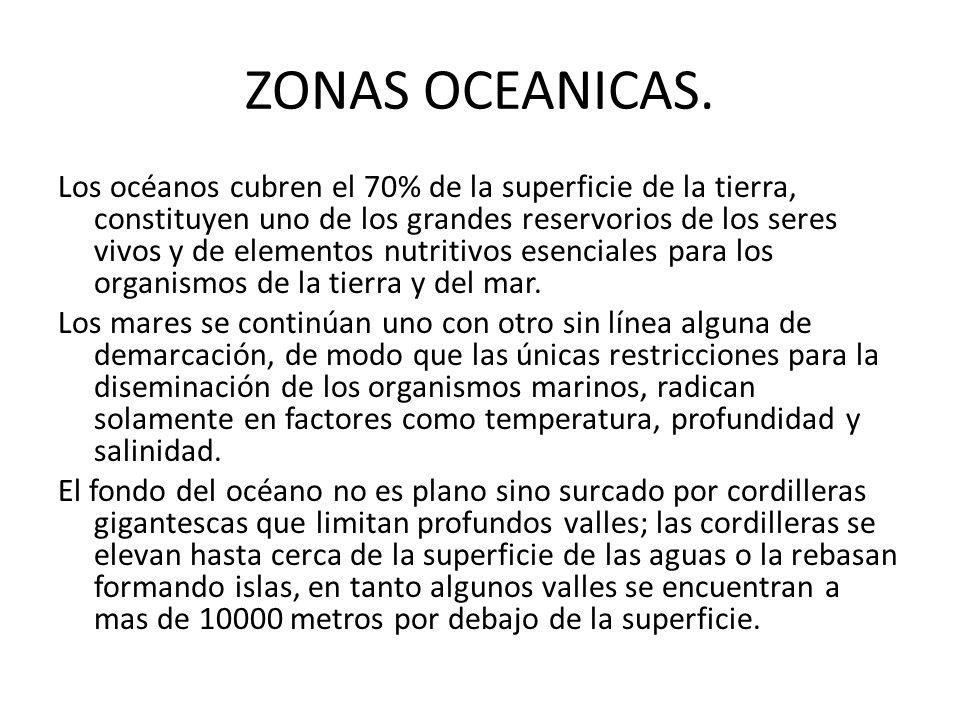 ZONAS OCEANICAS. Los océanos cubren el 70% de la superficie de la tierra, constituyen uno de los grandes reservorios de los seres vivos y de elementos