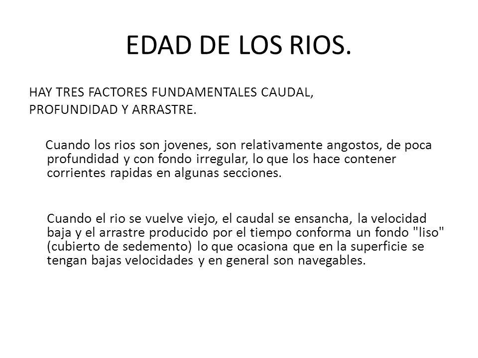EDAD DE LOS RIOS. HAY TRES FACTORES FUNDAMENTALES CAUDAL, PROFUNDIDAD Y ARRASTRE. Cuando los rios son jovenes, son relativamente angostos, de poca pro