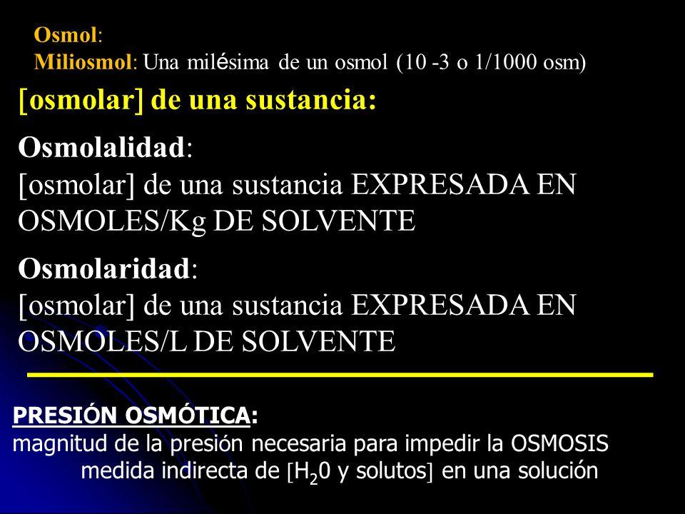 Osmol: Miliosmol: Una mil é sima de un osmol (10 -3 o 1/1000 osm) osmolar de una sustancia: Osmolalidad: osmolar de una sustancia EXPRESADA EN OSMOLES