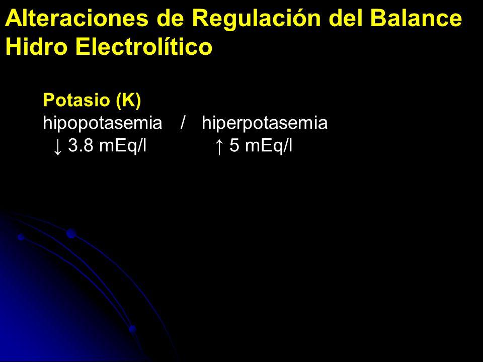 Alteraciones de Regulación del Balance Hidro Electrolítico Potasio (K) hipopotasemia / hiperpotasemia 3.8 mEq/l 5 mEq/l