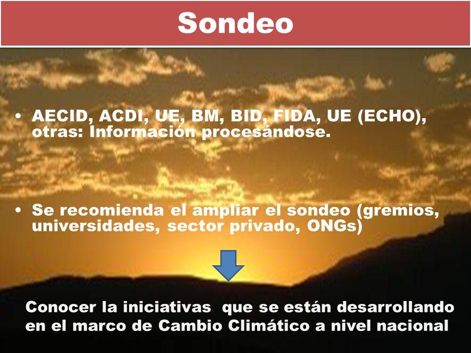 Sondeo AECID, ACDI, UE, BM, BID, FIDA, UE (ECHO), otras: Información procesándose.