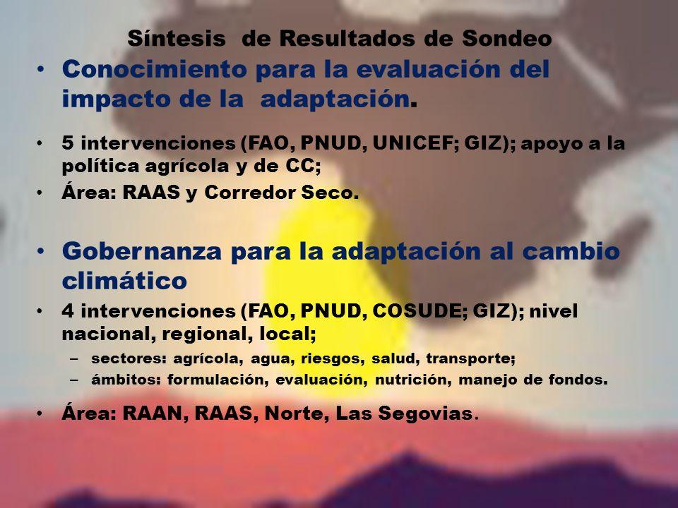 Síntesis de Resultados de Sondeo Conocimiento para la evaluación del impacto de la adaptación.