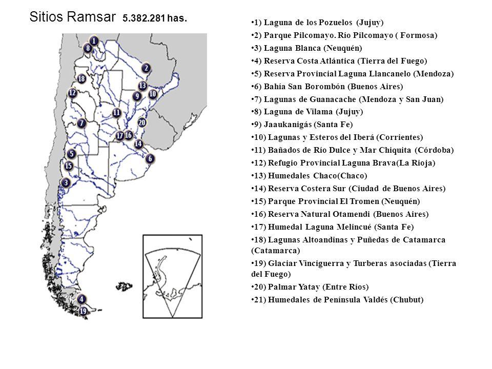 1) Laguna de los Pozuelos (Jujuy) 2) Parque Pilcomayo. Río Pilcomayo ( Formosa) 3) Laguna Blanca (Neuquén) 4) Reserva Costa Atlántica (Tierra del Fueg