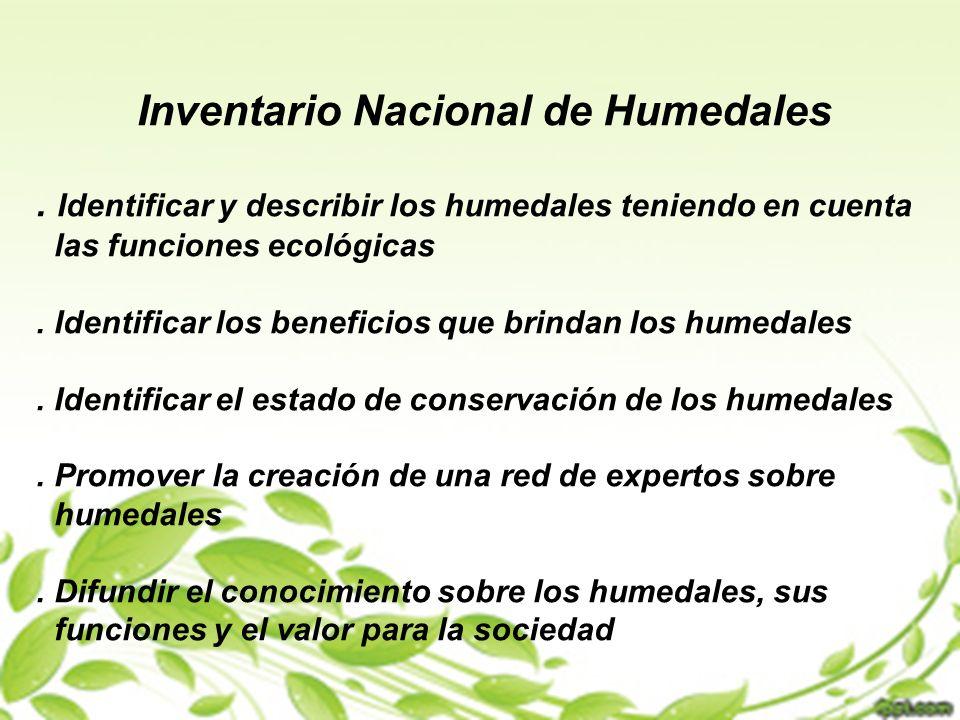 Inventario Nacional de Humedales. Identificar y describir los humedales teniendo en cuenta las funciones ecológicas. Identificar los beneficios que br