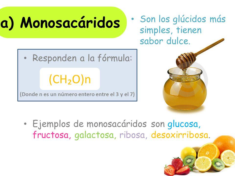 Responden a la fórmula: Ejemplos de monosacáridos son glucosa, fructosa, galactosa, ribosa, desoxirribosa.