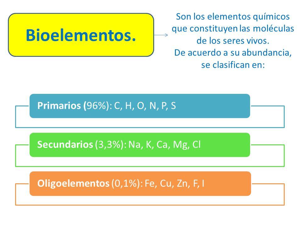 Bioelementos.Son los elementos químicos que constituyen las moléculas de los seres vivos.
