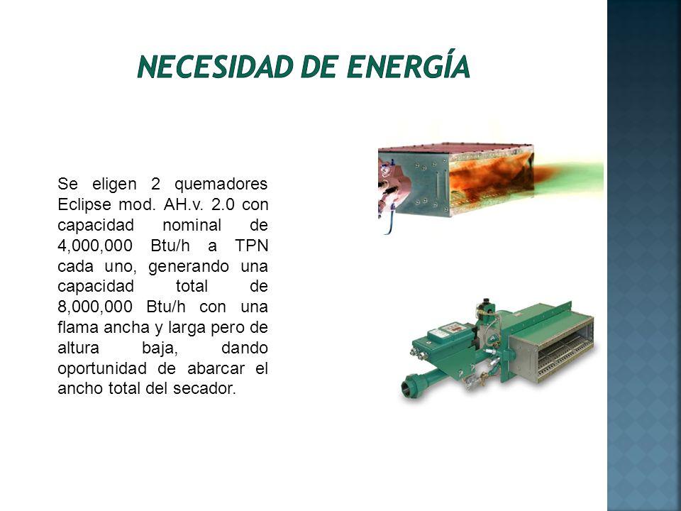 Se eligen 2 quemadores Eclipse mod. AH.v. 2.0 con capacidad nominal de 4,000,000 Btu/h a TPN cada uno, generando una capacidad total de 8,000,000 Btu/